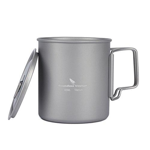 Titan Tasse (420ml) Mug Camping Becher mit Deckel , extra stark Ultra Leicht (Ti), gesunde und umweltfreundliche Cup für Reisen/Camping,Outdoor Mug Picknick Geschirr …