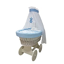 Babymajawelt® - Culla con set completo da 10pezzi, include materasso, carrozzina con grandi ruote (gommate), disponibile in diverse fantasie