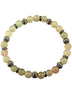 Sunsara Traumsteinshop Edelstein Sternzeichen Armband - Waage - Rosenquarz - mit silberfarbenen Tibet Perlen,...