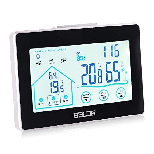 ATETION Wetterstation Funk mit Außensensor, Digital Thermometer-Hygrometer für Innen und außen, Hintergrundbeleuchtung und aktuelle Uhrzeit, schwarz