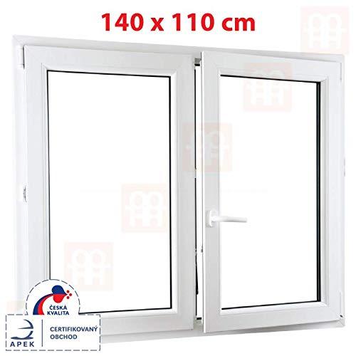 Kunststofffenster | 140x110 cm (1400 x 1100 mm) | weiß | Zweiflügelige ohne Pfosten | rechts | 6 Kammern