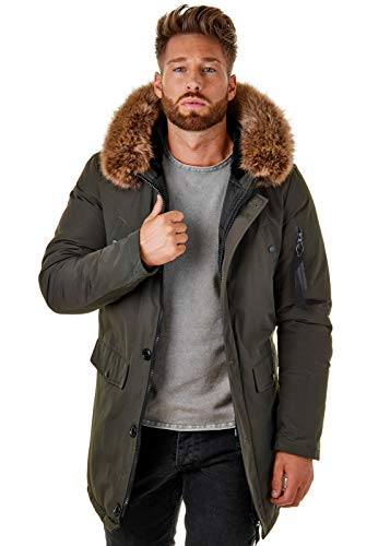 EightyFive Herren Parka Winter-Jacke Kunst-Fell Imitat Kapuze Schwarz Khaki BR1625, Größe:L, Farbe:Khaki - 3