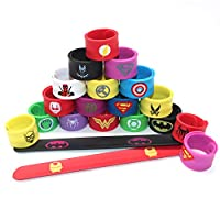 U&X 20 Pack Superheroes Wristbands Slap Bands Party Supplies Snap Bracelets Party Bag Fillers Bracelet Bands for Kids Boys Adults Birthday Kids Superhero Party Favors Toys