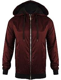 Unisex Mens Womens Light Weight Anorak Jacket Hooded Rain Coat Look ZIP Bomber