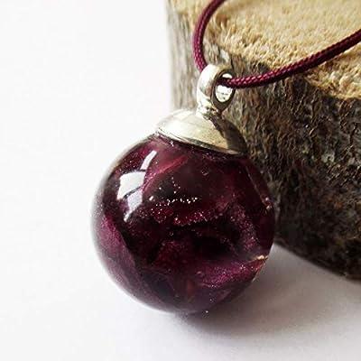 Pendentif Bulle de Pétales de Rose sphère en résine et fleurs - Bijou nature Collier végétal en fleurs séchées
