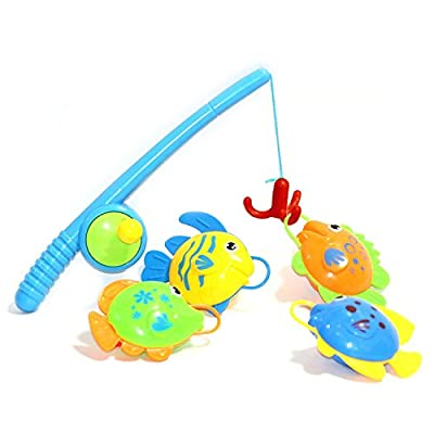 BBLIKE Bath Toy 4pcs Floating Bath Toy for Kids Fishing Game Great Gift for Boys Girls for 3 Years Old Early Education - Pro Fishing Hook More Funny and More Easily to Catch Fish by BBLIKE
