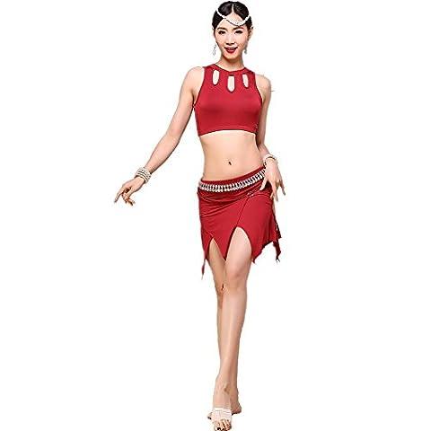 Wgwioo Maillot De Danse Du Ventre T-Shirt Robe Adulte Match Ensemble De Pratique Ensemble Performance Professionnelle Coton Couleur Solide Costume Moderne Red M