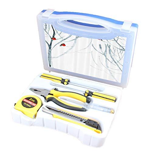 Handliche Werkzeug-Set Kombination Haushalt Modern Basic DIY Handwerkzeug-Kit Box enthält Schraubendreher, Zangen, Maßband, Teststift, Schneidwerkzeug, Bäume Wasser farbiges Bild von Winter Woods Prin