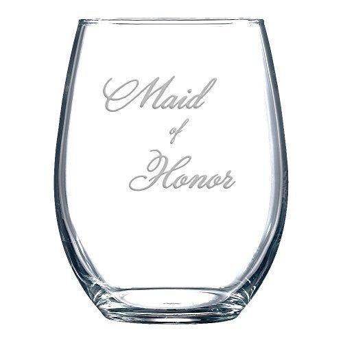 Maid of Honor ohne Stiel Wein Gläser für Frauen Laser Gravur Wein Tasse Wein Geschenke für ihn