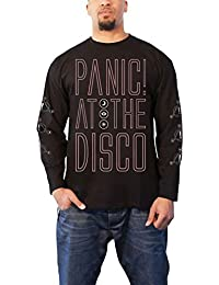 ccd602aed Panic At The Disco T Shirt Outline Band Logo Official Mens Black Long Sleeve