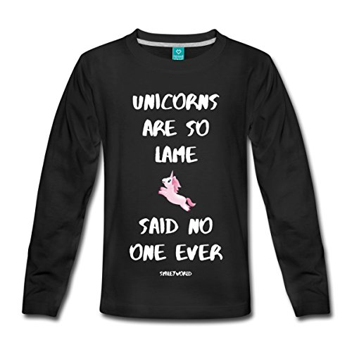 Spreadshirt Smiley World Unicorns Aren't Lame Spruch Teenager Premium Langarmshirt, 158/164 (12 Jahre), Schwarz (Sleeve Lame Long)