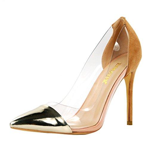 ENMAYER Frauen Wildleder Material Slip-on High Heels Spitz Zehe Transparente Party Kleid Stiletto Court Schuhe Gold