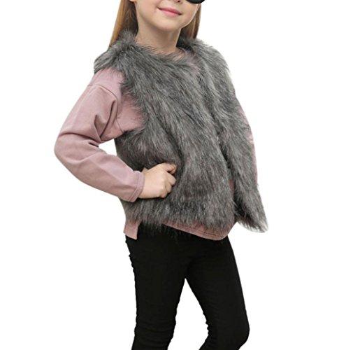 Niedlich Mädchen Faux Pelz Weste Hirolan Mode Ärmellos Jacke Kleider Herbst Winter Dick Mantel Warm Outwear Weich Plüsch Steppweste Kinderweste übergangsjacke (130cm, (Für Haar Kostüme Tanz Stücke)