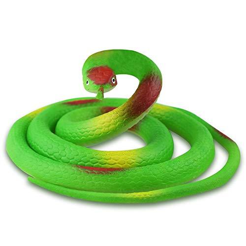 Zubita Plastik Schlangen Gummi Gummischlange Wie Echt Tricky Spiele Spielzeug, 120CM Grün (Erschrecken Sie Ihre Freunde Streich)