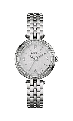 Caravelle New York Silver Mini T Bar Women's Quartz Watch with Silver Dial Analogue Display and Silver Stainless Steel Bracelet 43L185