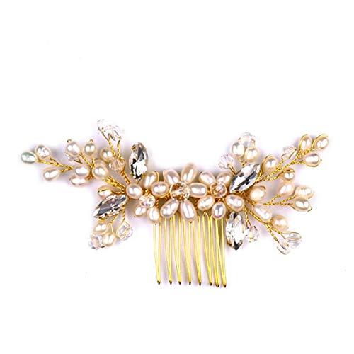 YUMUYMEY Hochzeit Braut Tiara Frischwasserperlen Haar Kamm Blume Kristall Tiara Haarschmuck Brautschmuck (Farbe : Golden)