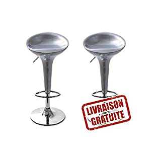 lot de 2 tabourets de bar jazz gris cuisine maison. Black Bedroom Furniture Sets. Home Design Ideas