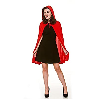 Adult Female Red Hooded Cape Fancy Dress