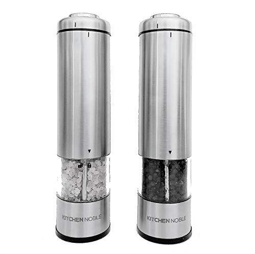 Kitchen Noble Elektrische Salz- und Pfeffermühle, Keramik-Mahlfräser, einstellbare Grobheitseinstellungen, LED-Licht, Druckknopf-Bedienung, ideal zum Mahlen von Pfefferkörnern, Meersalz und Gewürzen (Cayenne-pfeffer Salz)