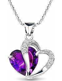 Katara Damen-Kette mit Anhänger 925 Silber rhodiniert Glas lila Herzschliff 102