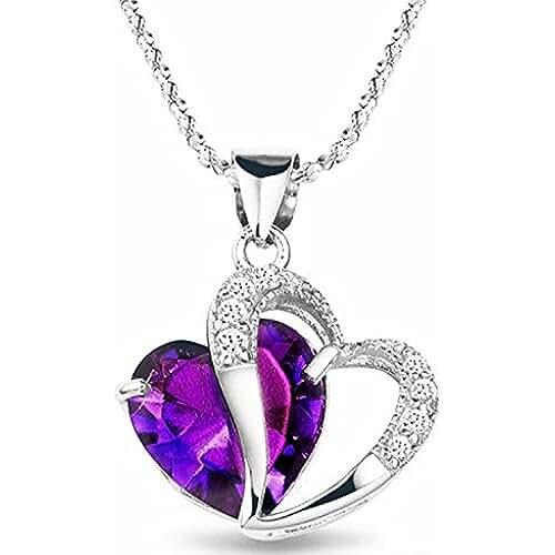 dia de la madre kawaii Bentleys Bargain Warehouse - Collar con dije amatista forma corazón chapeado rodio chíspas diamante cadena 18