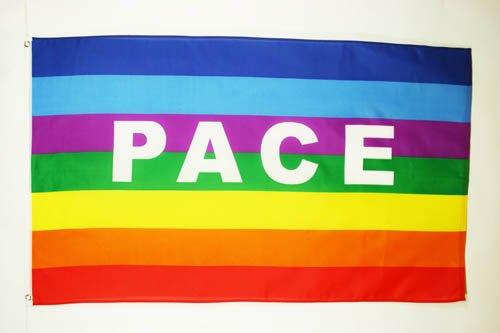 Az flag bandiera arcobaleno pace 90x60cm - bandiera pace - rainbow flag 60 x 90 cm