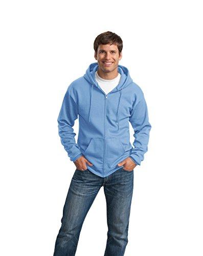 Port & Company–Jacke mit durchgehendem Reißverschluss Sweatshirt mit Kapuze Blau Carolina-Blau (Kapuze Blau Sweatshirt Carolina)
