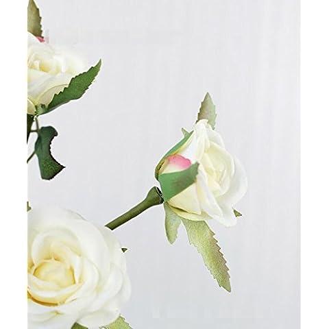 GWZ,Fiori artificiali di alta gamma, Rose, 7 teste della rosa di Versailles, singolo fiore decorazione, decorazione dell