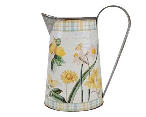 Kaemingk Retro Vintage Stil dekorative Metall Zink Krug - Gelb Weiß Grün Frühlingsblumen-Design - 22,5 cm (Creme Tafelaufsatz)
