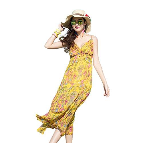 Fur Story 17B111 Femme Robe imprim¨¦e fleur ¨¤ la robe spaghetti d¨¦contract¨¦e ¨¤ la plage Jaune