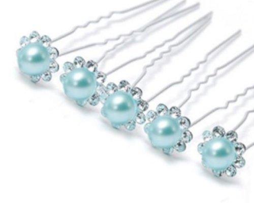 Accessoires cheveux coiffure mariage 1 lot de 5 épingles à chignon perle - bleu clair