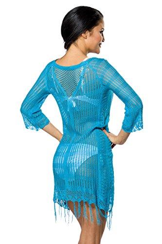 Atixo - Robe - Trapèze - Manches 3/4 - Femme Multicolore Multicolore Multicolore - Bleu