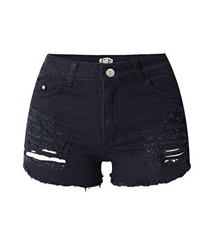iRachel Damen Short Hotpants Demin Short Kurze Hose Ripped Loch Hose Schwarz EU 40