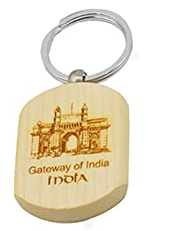 Faynci Gateway Of India Engraved Handcrafted Wooden Key Chain