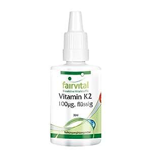 Vitamin K2 100µg flüssig / liquid, natürlich, mind. 99% all-trans MK-7, Menachinon, vegan, 30ml, 3-Monatspackung, mit Citronenöl und Vitamin E