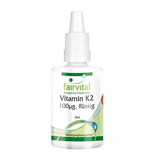 fairvital vitamin d3 Vitamin K2 100µg flüssig - GROSSPACKUNG für 3 Monate - VEGAN - 30ml - Menaquinon aus Natto - all-trans MK-7