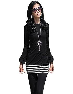 Japan Style von Mississhop Damen Minikleid Kleid Tunika mit schwarzen Streifen S M L XL XXL