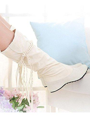 Minetom Donne Autunno E In Inverno Stivali Increspatura Matte Superficie Altezza Crescente Scarpe Beige