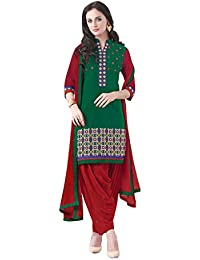 Lords Green Satin Cotton Unstitched Patiala Salwar Suit