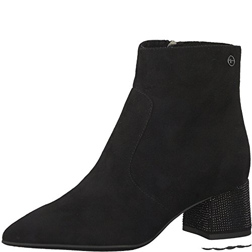 Tamaris Damen Stiefelette 25319-21,Frauen Stiefel,Boot,Halbstiefel,Damenstiefelette,Bootie,Reißverschluss,Blockabsatz 5cm,Black,EU 40 -