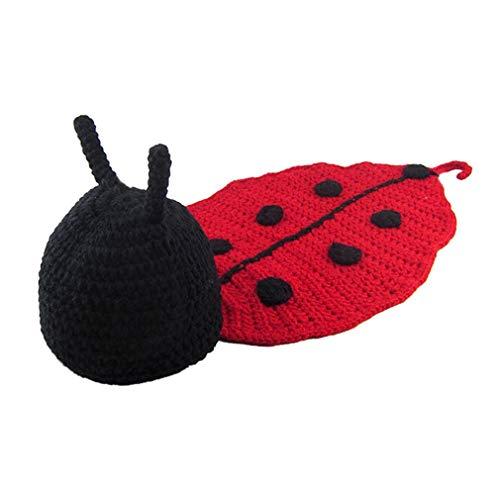 ind-Baby-Foto-Prop-Ausstattungs-Kostüm-Caps Crochet Decke Hut Gestrickte Photopraphy Marienkäfer Kleidung Props für 0-6 Monate Jungen-Mädchen ()