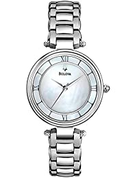Bulova Classic Dress Women's Quartz Watch with Mother of Pearl Dial Analogue Display and Silver Stainless Steel Bracelet 96L185