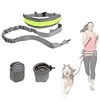 Adogo mains libres Course Laisse pour chien & # Xff0C?; Dressage de chien Laisse & # Xff0C?; Chien Marche Ceinture & # Xff0C?; absorbant les chocs Laisse avec ceinture réglable