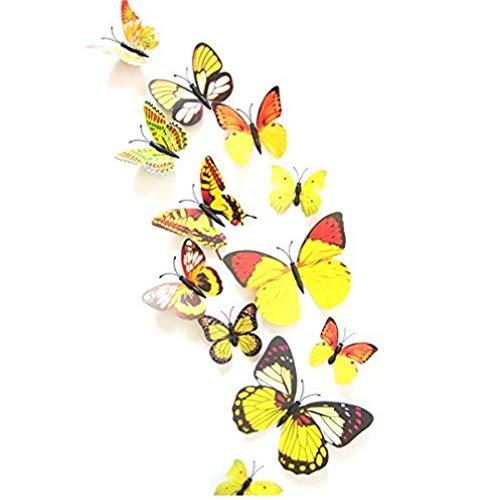 TOSSPER 12st 3D-Gelb Schmetterlings-Aufkleber Karte, die Aufkleber-Wand-Aufkleber 3D-Crafts Schmetterlinge (Gelbes Schmetterlings-wand-aufkleber)