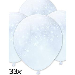 HomeTools.eu 33 Stück - Transparente aufblasbare Luft-Ballons | Edel glänzende Ballons - Stars - Für Hochzeit Polterabend Weihnachten Silvester | zur Deko für Party | 33er Pack 30cm