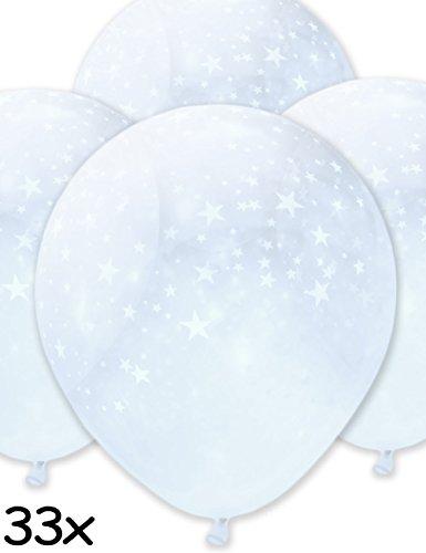 HomeTools.eu - 33 Stück Transparente aufblasbare Luft-Ballons, Edel glänzende Ballons, Stars, Für Hochzeit Polterabend Weihnachten Silvester, zur Deko für Party, 33er Pack 30cm - Ht Luft