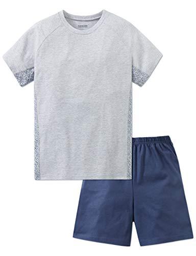 Schiesser Jungen Anzug kurz Zweiteiliger Schlafanzug, Grau (Grau-Mel. 202), 152 (Herstellergröße: S)