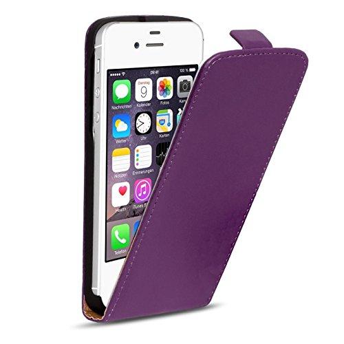 iPhone 4s PU Leder Flip Case Klapphülle Cover Hülle in Farbe: Grün Lila
