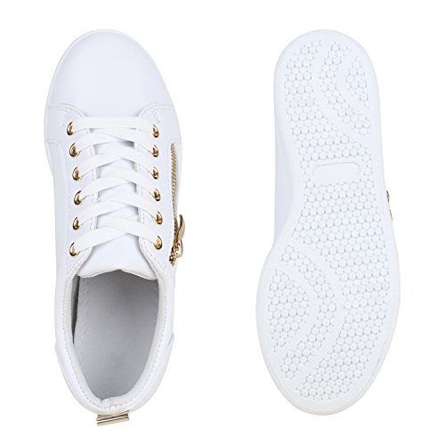 Damen Sneakers Metallic Sneaker Low Zipper Glitzer Schuhe Lack Animal Print Turnschuhe Sportschuhe Leder-Optik Plateau Flats Flandell Weiss Avelar