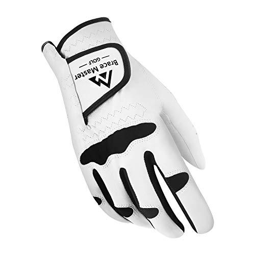 Brace Master Golfhandschuhe, für Herren und Damen, für Linke Hand, weiches echtes Cabretta-Leder, geeignet für jedes Wetter, 1 Packung, Right Hand - Lycra, X-Large